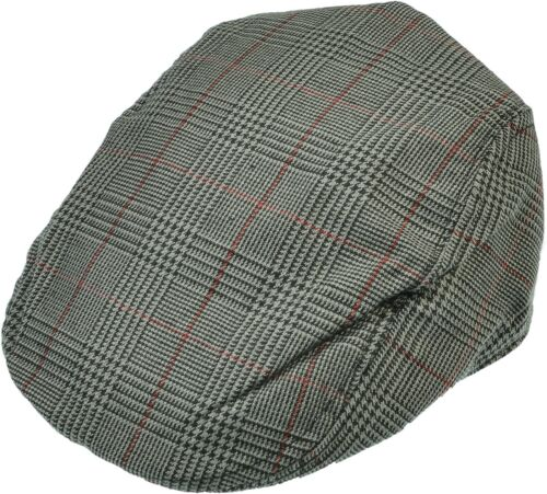 Aprileo Men Gatsby Cap Flat Driving Stripe Lined Cotton Newsboy Hat