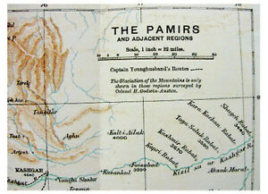 1892-Younghusband-EXPLORING-THE-PAMIRS-Unmapped-Glaciers-COLOR-ROUTE-MAP-4