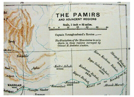 1892 Younghusband  EXPLORING THE PAMIRS  Unmapped Glaciers  COLOR ROUTE MAP  4