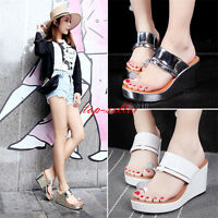 Women High Heel Wedge Flip Flops Sandal Thong Rhinestone Platform Loafer Slipper
