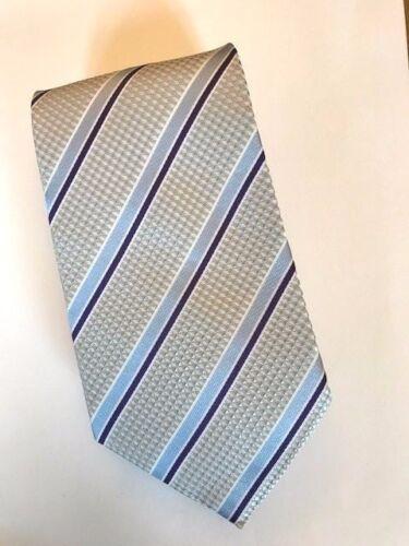 Grey Woven 100/% Pure Silk Neck Tie  with Light /& Dark Blue Diagonal Stripes