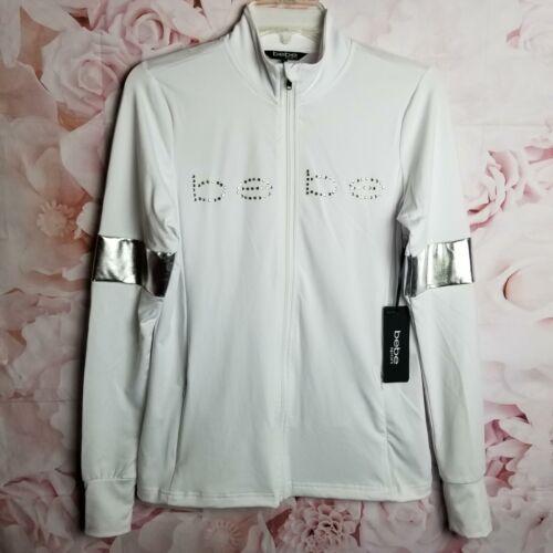 Bebe Sport Women/'s Activewear Zip-Up Jacket White /& Silver W//Crystal Logo