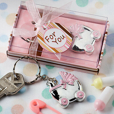 Pink Baby Carriage Design Key Chain 5 Piece Baby Shower favor