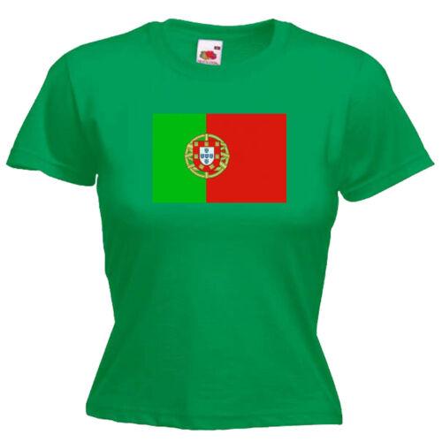 Portugal Flag Ladies Lady Fit T Shirt 13 Colours Size 6-16