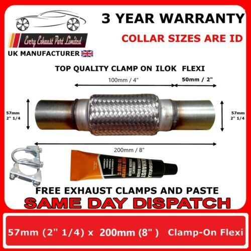 "2.25 x 8/"" 57 x 200mm Exhaust Flexipipe Cat Repair Tube Flexi Flex Joint 2 1//4/"""