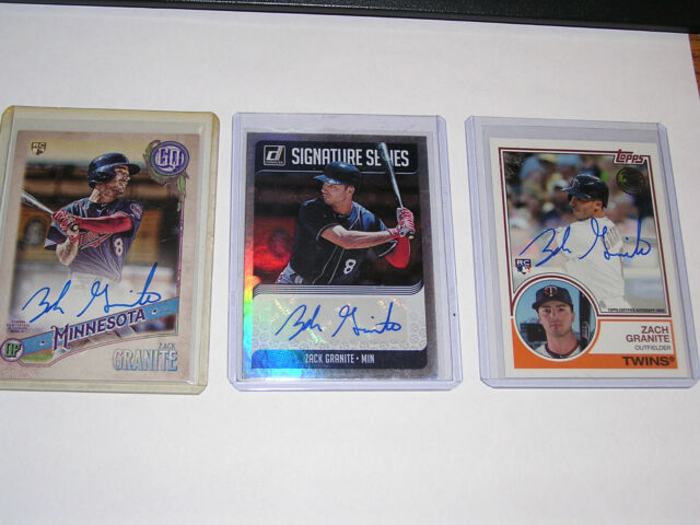 Zach Granite Lot Of 3 Autograph Cards Rangers Twins Ebay