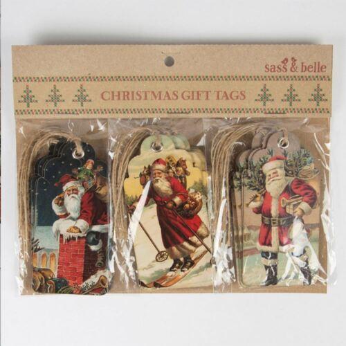 Vintage Tags Christmas Scene Gift Tags Retro Vintage Style x 15 Santa Clause