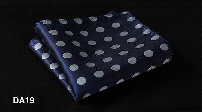 DA Polka Dot Men Silk Satin Pocket Square Hanky Wedding Party Handkerchief