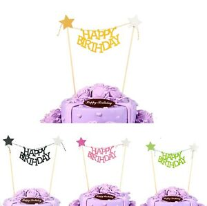 Happy-Birthday-Bunting-Star-Gold-Cake-Topper-Unique-Banner-Party-Decoration-Baby