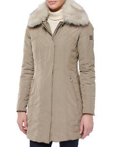 detailed look c715b 27551 Details about PEUTEREY Metropolitan Fitted Fur-Collar Parka Sz46 8-10  NWT$1175.00 color Lontra