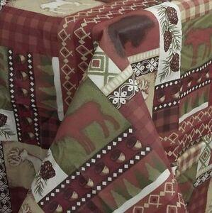 winter lodge vinyl flannel back tablecloth 70 round bear. Black Bedroom Furniture Sets. Home Design Ideas