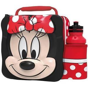 Disney-Minnie-Mouse-Termico-3d-Fiambrera-Para-Colegio-Caja-amp-Botella-Juego-59555