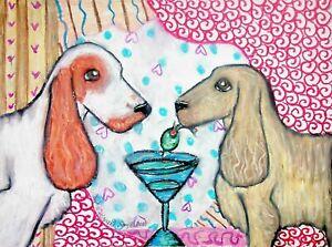 ENGLISH-COCKER-SPANIEL-Drinking-a-Martini-Pop-Vintage-Art-8-x-10-Signed-Print