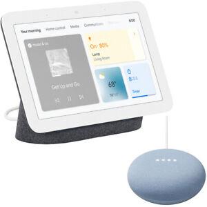 Google Nest Hub Display with Assistant, Charcoal (2nd Gen) + Mini Smart Speaker