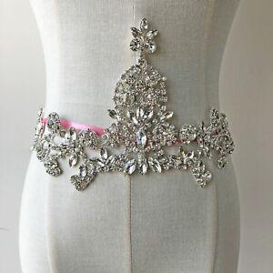 Shinny-Crystal-Rhinestone-Applique-Diamante-Sew-on-Bridal-Sash-Belt-Appliques