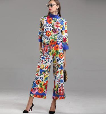 wholesale runway Crew neck Tilt buckle 3//4 sleeves Print Floral Pants suit