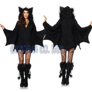 Image is loading Adult-Women-v&ire-bat-Fancy-Dress-Cosplay-Costume-  sc 1 st  eBay & Adult Women vampire bat Fancy Dress Cosplay Costume jumpsuit ...