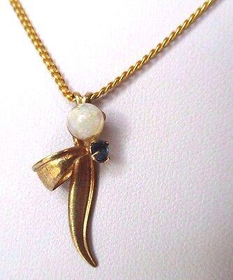 Luminosa Pendentif Collier Bijou Vintage Solitaire Cristal Saphir Couleur Or Perle 333 Luminoso A Colori