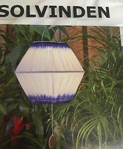 ikea solvinden h ngeleuchte led solarleuchte gartenlampe 32 cm blau neu und ovp ebay. Black Bedroom Furniture Sets. Home Design Ideas