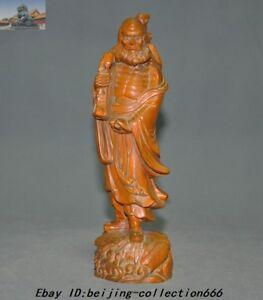 "8.8/"" China Wood Boxwood Hand Carved Arhat Damo Bodhidharma Dharma Buddha Statue"
