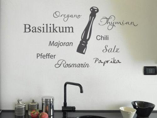 Wandtattoo Sprüche Küche Aufkleber Gewürze Küchensticker Wandsticker Küche
