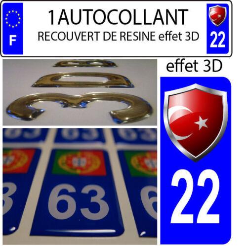 1 sticker plaque immatriculation auto DOMING 3D RESINE  BLASON TURQUIE DEPA 22