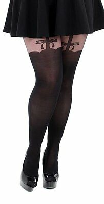 plus size MOCK SUSPENDER TIGHTS 16 18 20 22 24 26 1X 2X 3X stockings pantyhose
