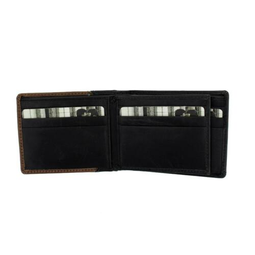 Black and Brown Men/'s Bi-Fold Genuine Leather Wallet Billfold