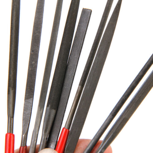 Set of 10 Round Flat Needle Files Set For Metal Glass Jewelry Wood Carving Craft