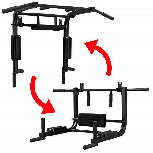 2 in 1 Mounted Wall Mounted 1 Pull Up Bar - Dip bar. Wall Pull Up Bar - Chin Dip Station a786eb