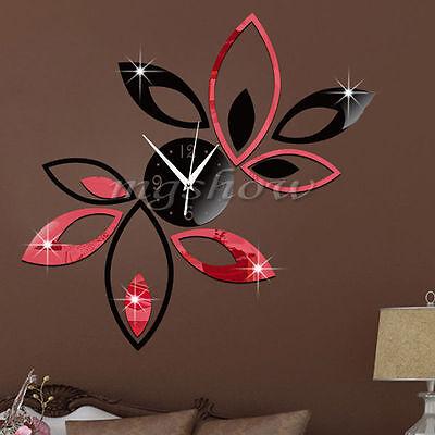 3D Clock Lotus DIY Art Acrylic Mirror Wall Sticker TV Backdrop Home Decor New LF
