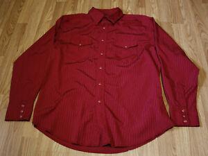 Wrangler-Mens-Red-Vintage-Western-Pearl-Snap-Shirt-Sz-Large-Striped-Burgundy