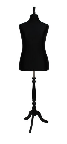 DELUXE FEMALE SIZE 18 Dressmakers Dummy Mannequin Tailor BLACK Bust BLACK Stand