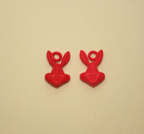 2 Vtg Red Plastic Toy Gumball Machine Charm Bugs Bunny WB Looney Tunes 1970s NOS