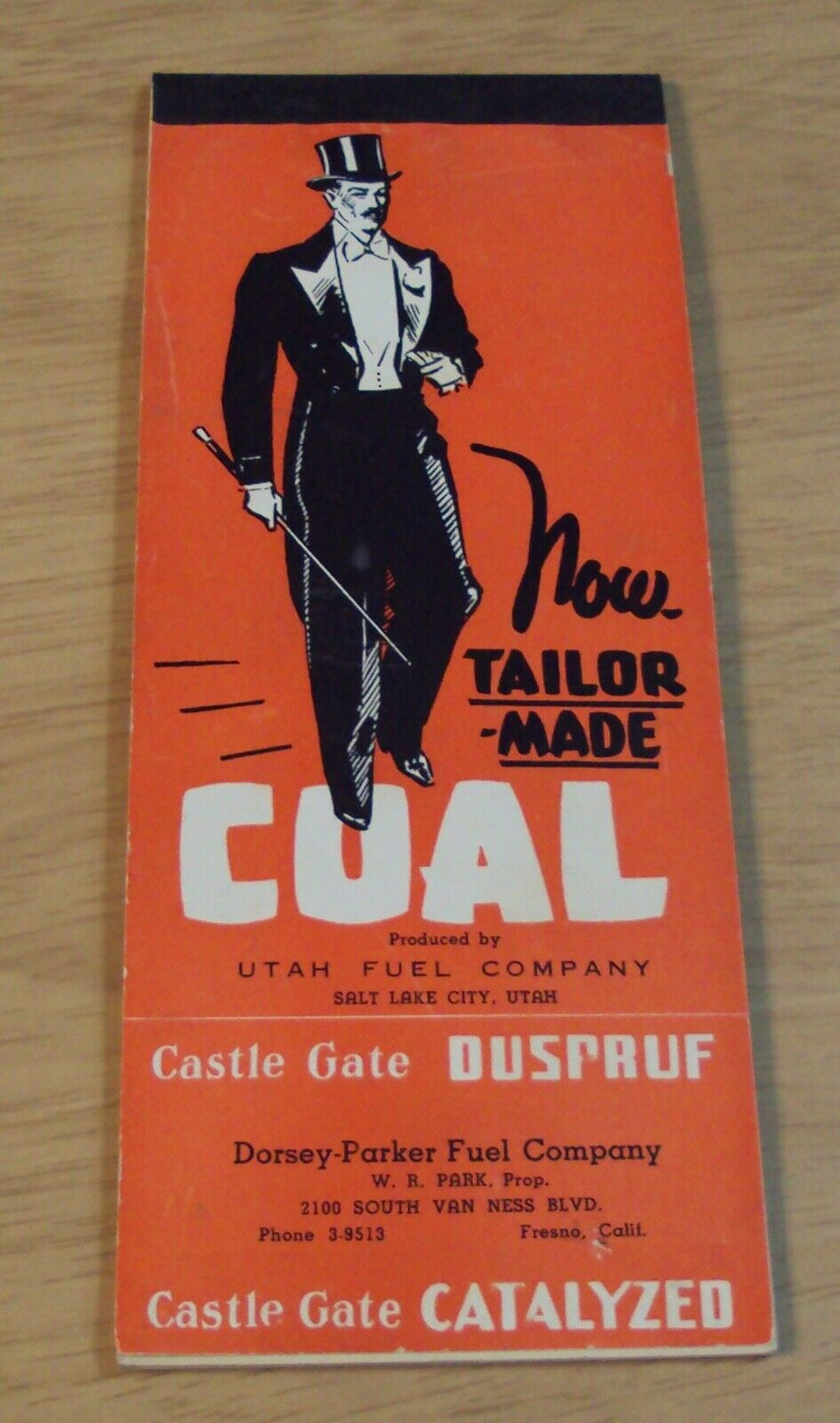 1930's Adgreenising BRIDGE Score PAD Utah Fuel Co...COAL  Fresno CALIF