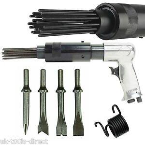 Air-Hammer-Descaler-Needle-Gun-Tool-Kit-Paint-amp-Rust-Remover-19-Pin-4-x-Chisels