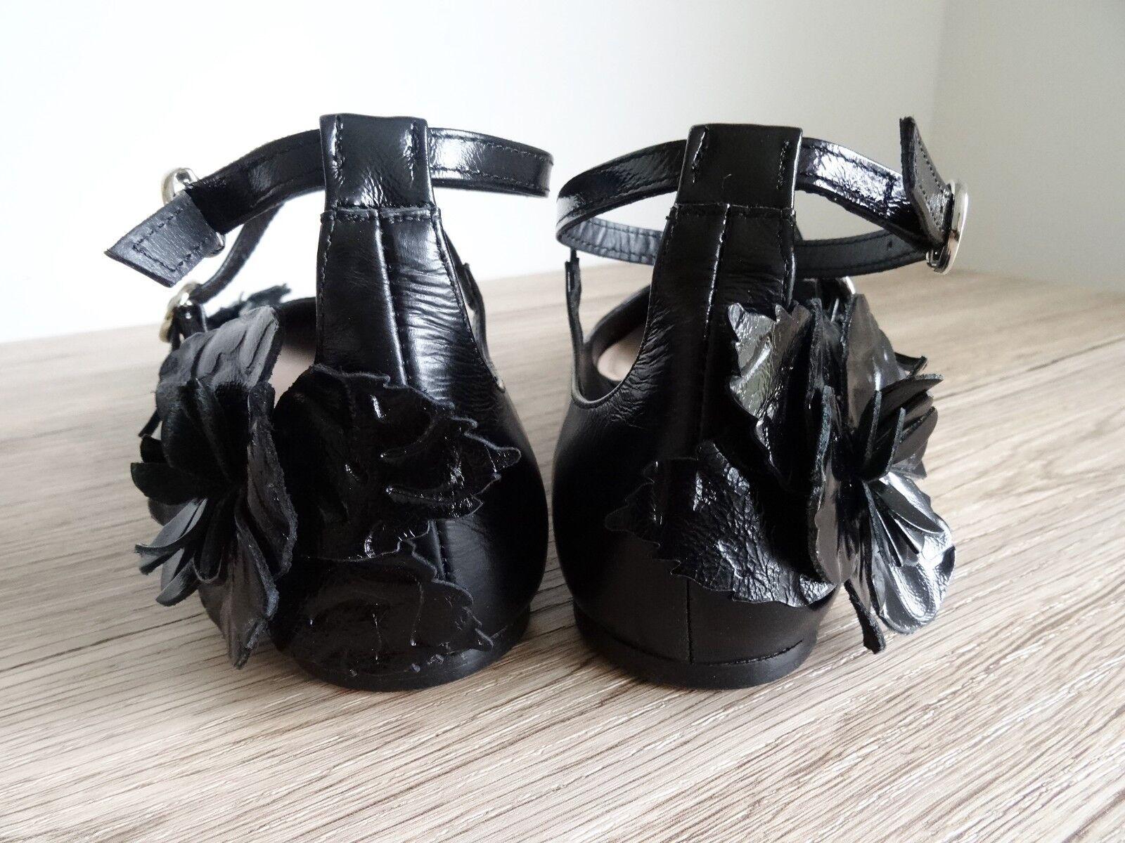 ZARA BLACK LEATHER BALLERINAS WITH STRAP & FLOWER DETAIL SIZE USA UK 8 EU 41 USA SIZE 10 f17045