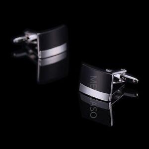 Mencaso-Mens-Stainless-Steel-Black-amp-Silver-Rectangle-Wedding-Business-Cufflinks