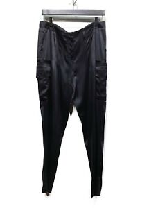 Alexander Wang Black Satin Silk Cargo Trousers