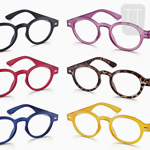 NEW-FUNKY-RETRO-ROUND-RIMMED-READING-GLASSES-BLACK-RED-BLUE-1-0-1-5-2-2-50-3