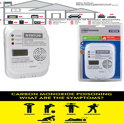 EN 50291 Certified PIFCO Carbon Monoxide Co Alarm Detector LCD Display UK