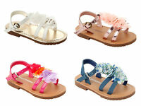 GIRLS RUFFLED FLOWER FLAT HOLIDAY BEACH SUMMER SANDALS INFANTS UK SIZE 4-12