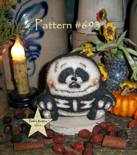 Patti's Ratties Primitive Halloween Skeleton Goth 3 Doll Paper Pattern #693