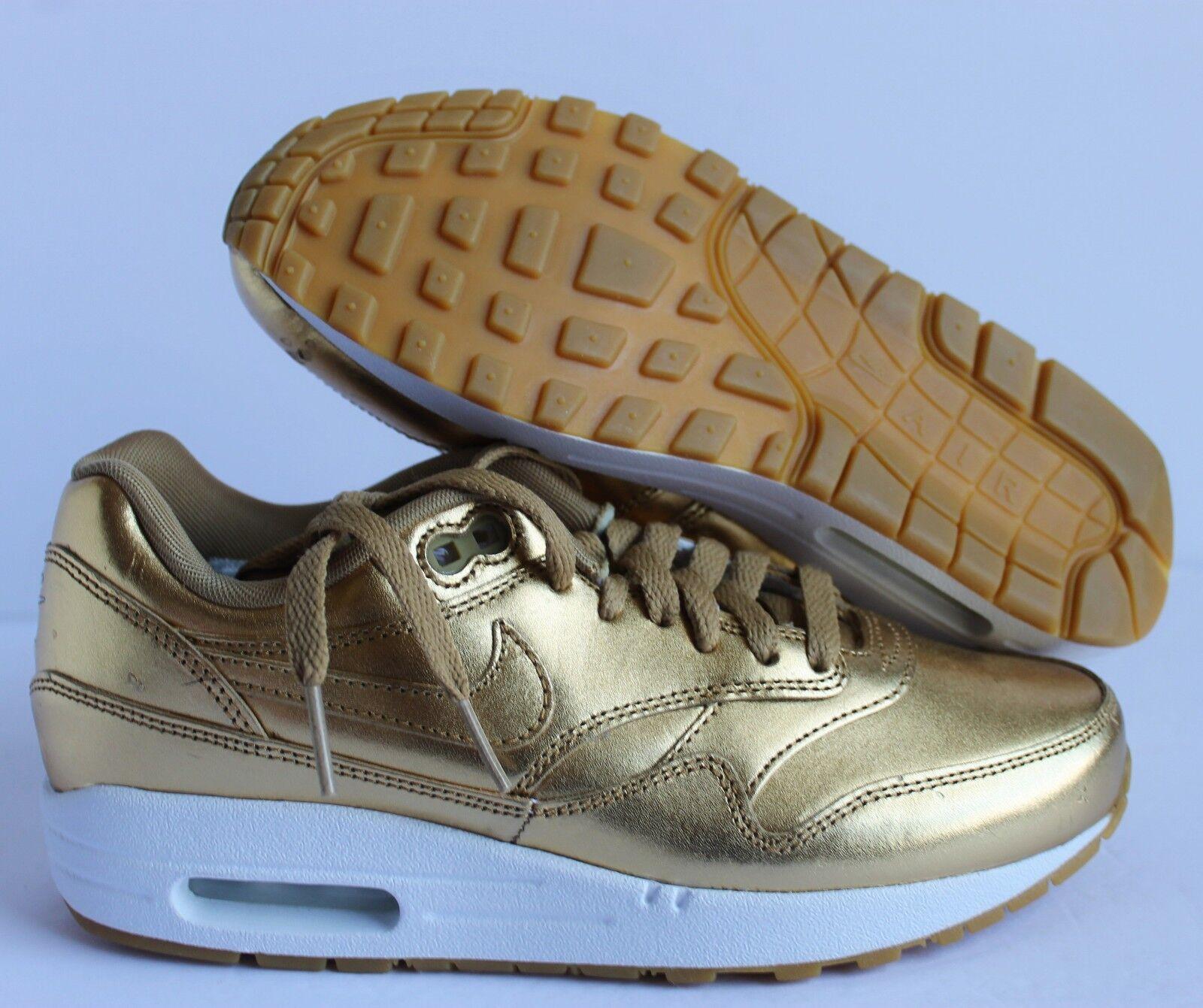 Nike Donna Air Max 1 ID Metallic Gold-White-Gum SZ 6.5 [823375-993]