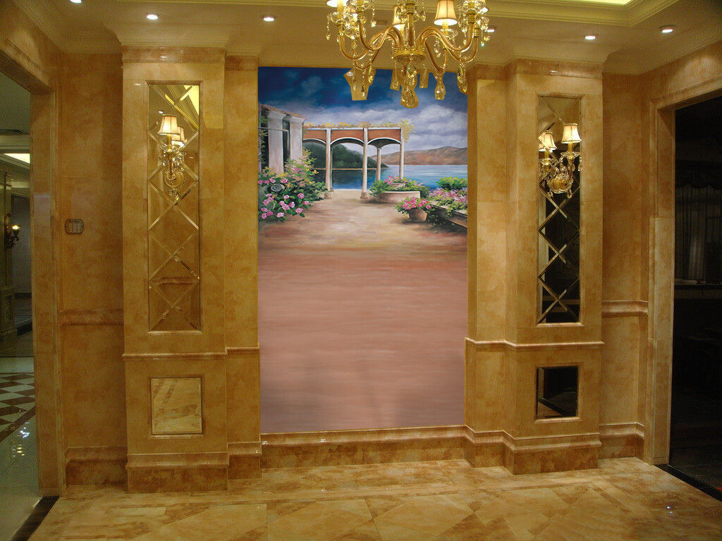 3D Lake Pavilion Flower Wall Paper Wall Print Decal Wall Deco Wall Indoor Murals