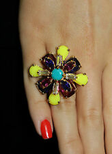 NWT KATE SPADE NEW YORK 'FLORAL KALEIDOSCOPE' RETAIL FLOWER RING SIZE 8 VIBRANT
