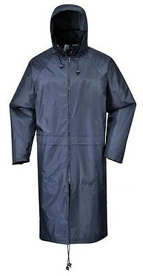 Gutherzig Portwest S438 Classic Adult Long Waterproof Rain Coat Jacket - Navy Blue