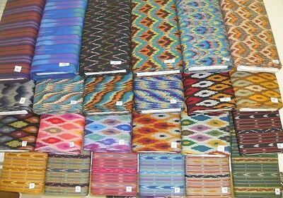 "HOMESPUN IKAT (KASURI) WOVEN 100% cotton fabric pre-dyed threads 1 yd x 44"" wide"
