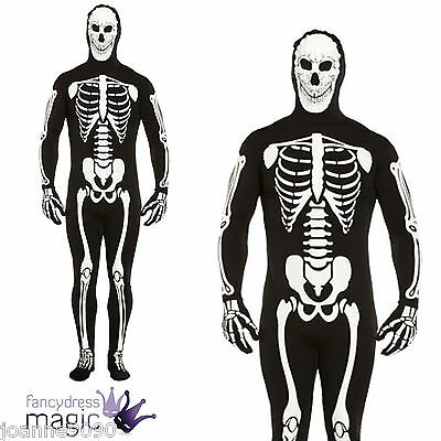 ADULT MENS HALLOWEEN GID GLOW IN THE DARK SKELETON BODY SUIT FANCY DRESS COSTUME