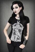 Restyle Ladies' GOTHIC/ STEAMPUNK T-Shirt Top : Raven in Victorian Birdcage